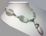 Бусы из лабрадора, мохового агата, жемчуга и лунного камня арт.0193