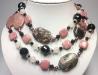 Бусы из родонита, розового кварца и черного агата арт.211
